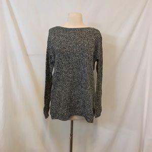 Old Navy Marled Black Boatneck Knit Sweater